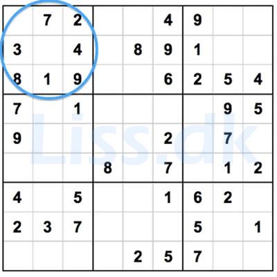 Suduko 9 felter skal have tallene 1-9
