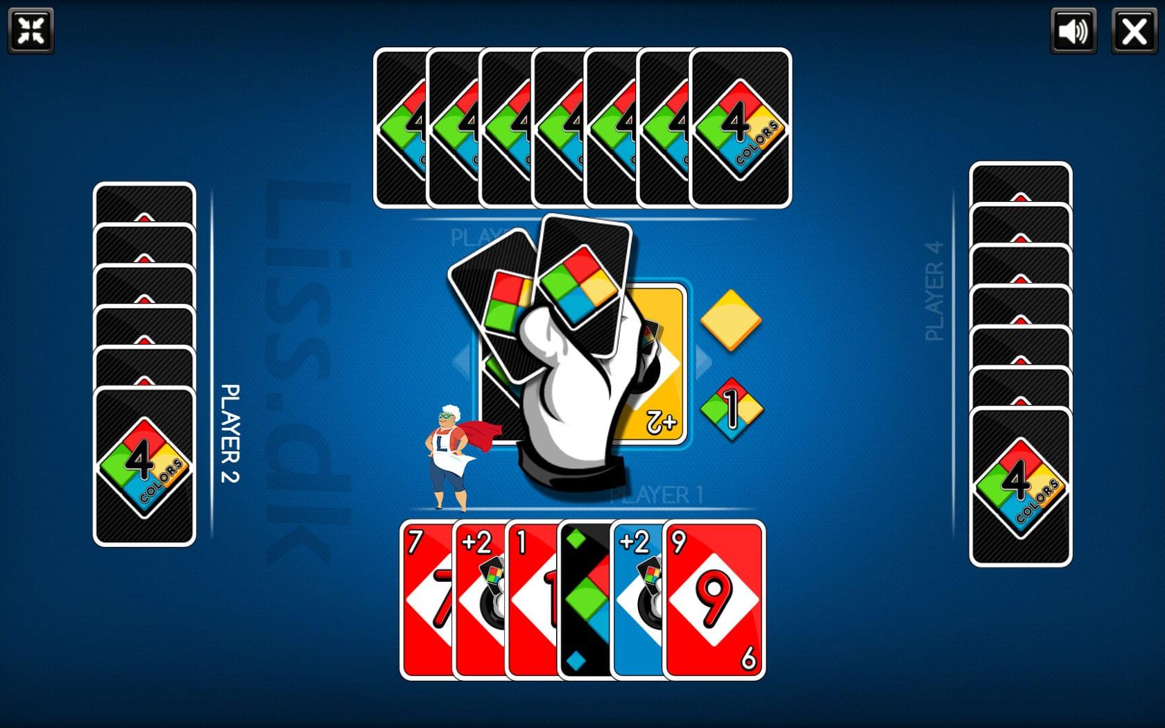 Du kan spille gratis UNO med 3 andre spillere